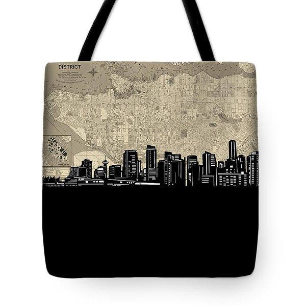 Vancouver Skyline Map Tote Bag