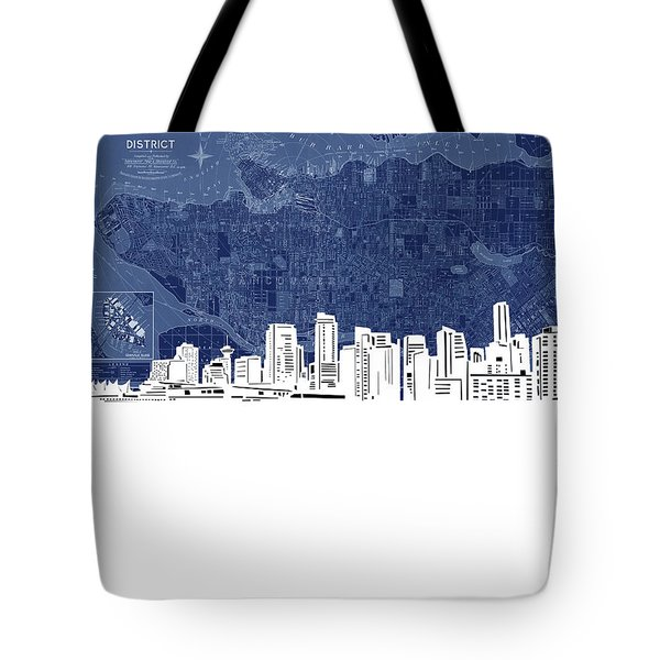 Vancouver Skyline Map Blue Tote Bag