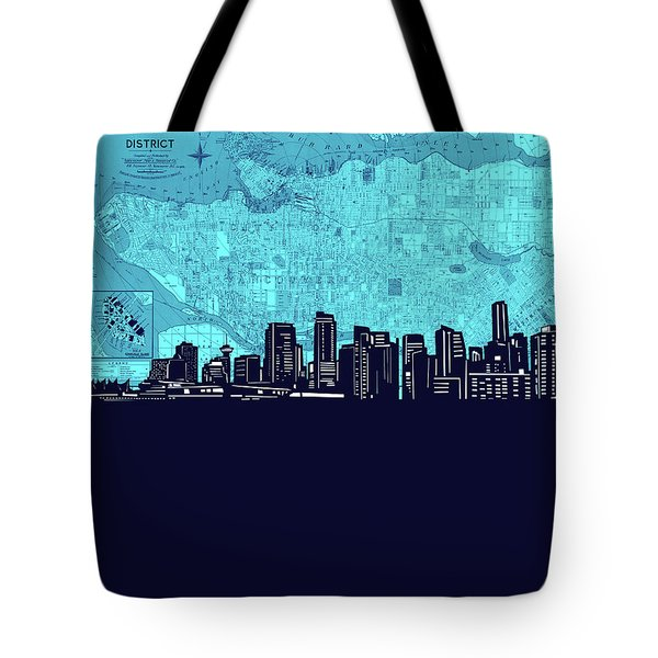 Vancouver Skyline Map Turquoise Tote Bag