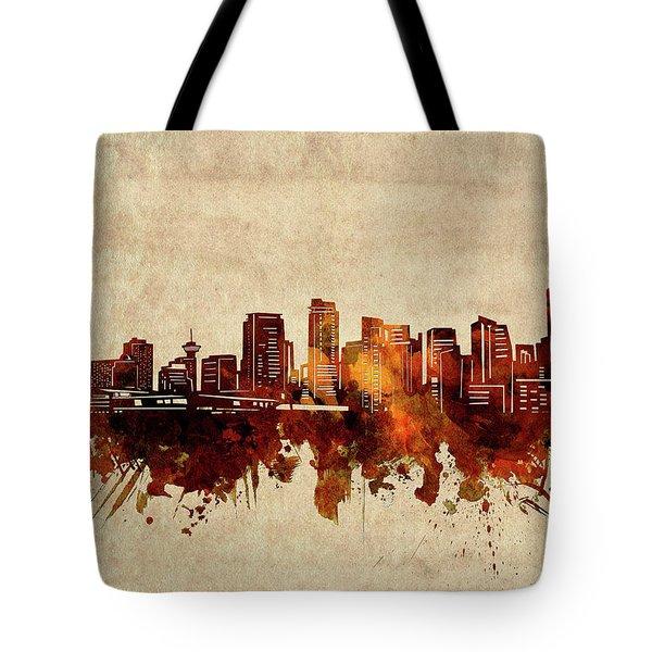 Vancouver Skyline Sepia Tote Bag