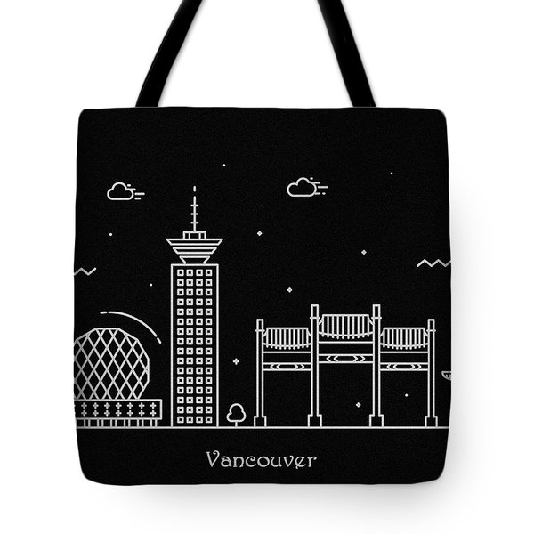 Vancouver Skyline Travel Poster Tote Bag