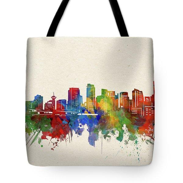 Vancouver Skyline Watercolor Tote Bag