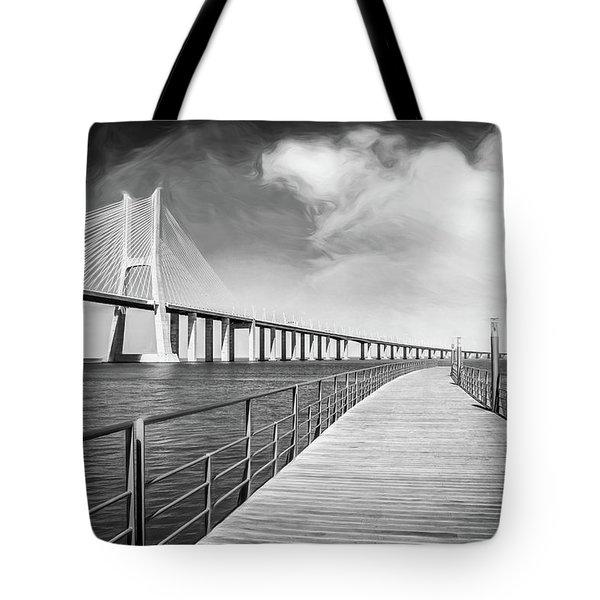 Vasco Da Gama Bridge Lisbon Portugal Black And White  Tote Bag