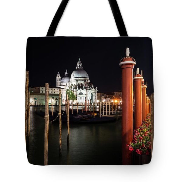 Venice Italy Midnight - Santa Maria Della Salute Through A Forest Of Paline Tote Bag