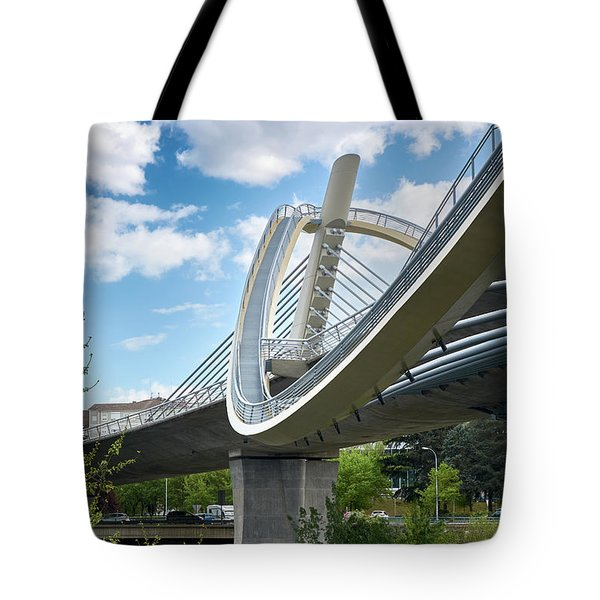 Vertical View Of The Millennium Bridge In Ourense Tote Bag