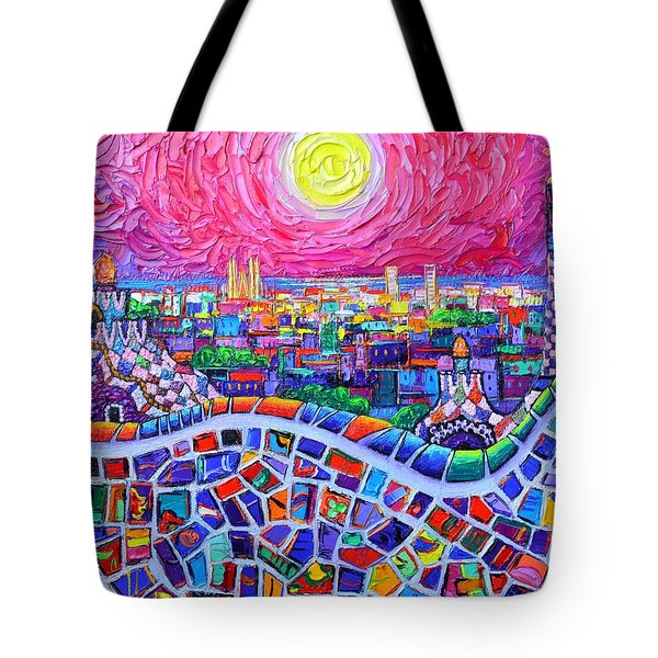 Vibrant Barcelona Night View From Park Guell Modern Impressionism Knife Painting Ana Maria Edulescu Tote Bag