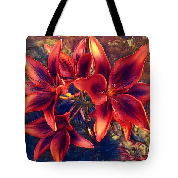 Vibrant Red Lilies Tote Bag