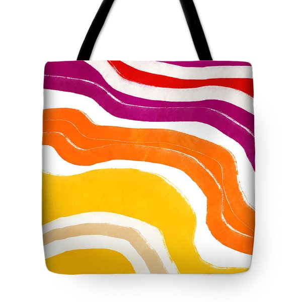 Tote Bag featuring the mixed media Vibrant Waves 1- Art By Linda Woods by Linda Woods
