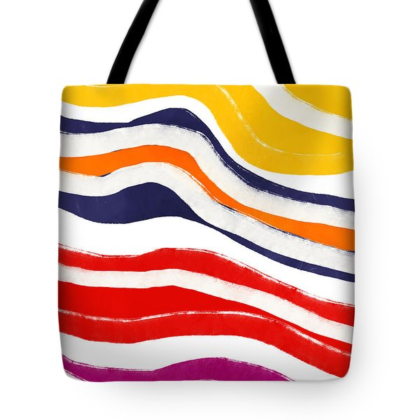 Tote Bag featuring the mixed media Vibrant Waves 2- Art By Linda Woods by Linda Woods