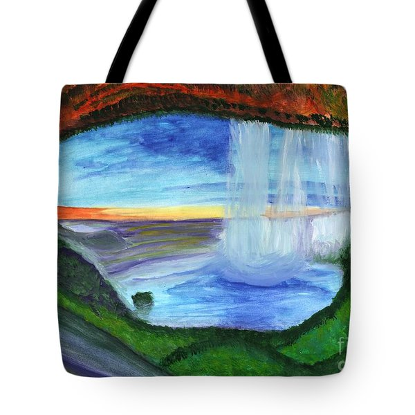 View From The Cave To The Waterfall Tote Bag