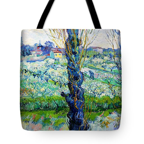 View Of Arles, Flowering Orchards - Digital Remastered Edition Tote Bag