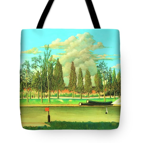View Of The Quai Asnieres-the Canal And Landscape With Tree Trunks - Digital Remastered Edition Tote Bag
