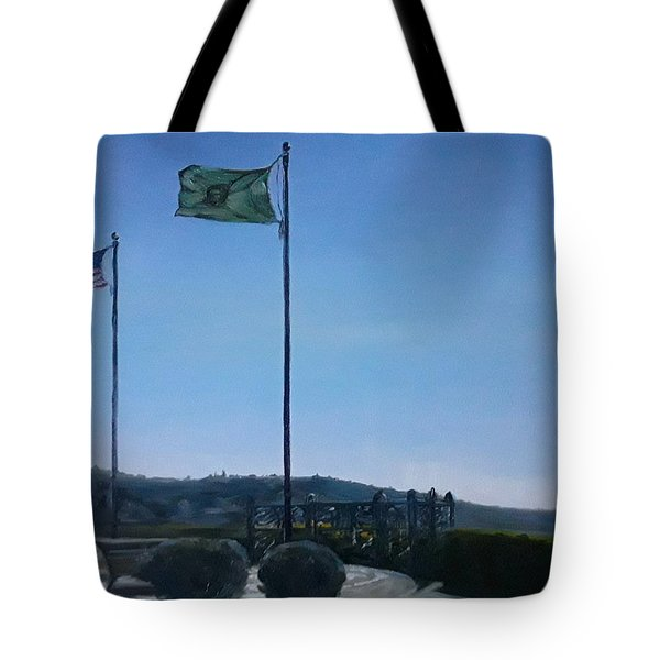 Tote Bag featuring the painting Viewing Circle At Grand Ave Park by J Reynolds Dail