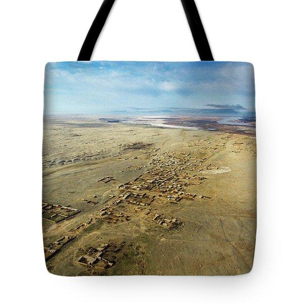 Tote Bag featuring the photograph Village Toward Amu Darya River by SR Green