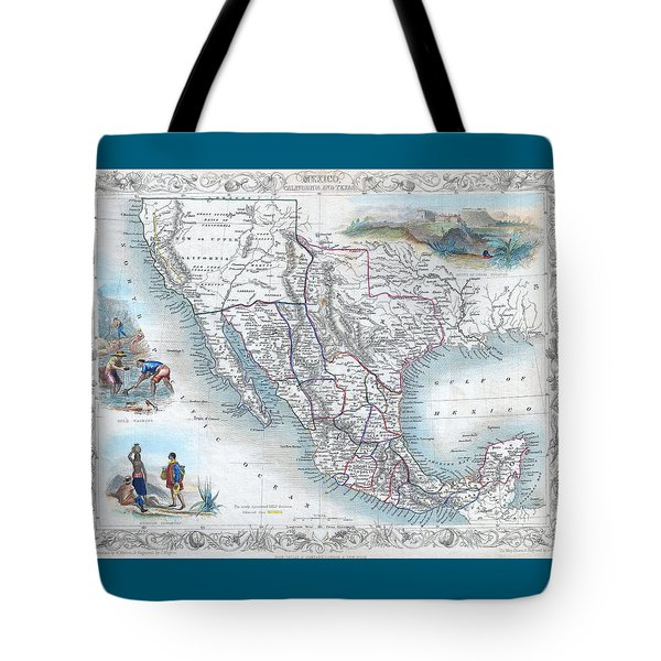 Vingage Map Of Texas, California And Mexico Tote Bag