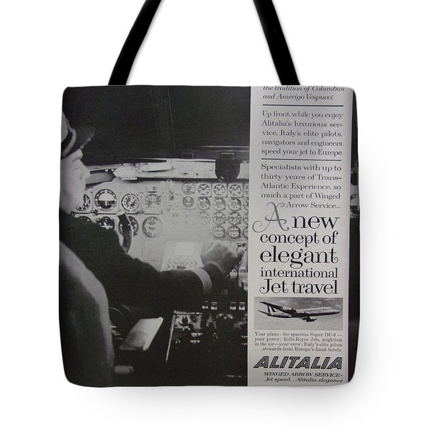 Vintage Alitalia Airline Advertisement Tote Bag