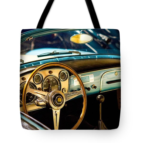 Tote Bag featuring the photograph Vintage Blue Car by Top Wallpapers