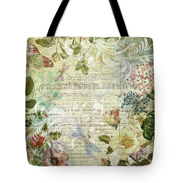 Tote Bag featuring the mixed media Vintage Botanical Illustration Collage by Peggy Collins