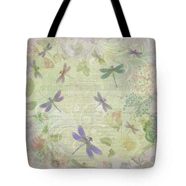 Tote Bag featuring the mixed media Vintage Botanical Illustrations And Dragonflies by Peggy Collins