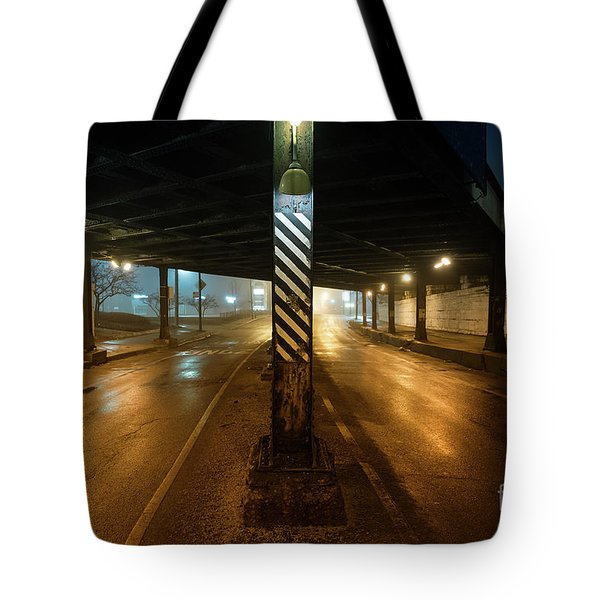 Vintage Chicago Bridge At Night Tote Bag