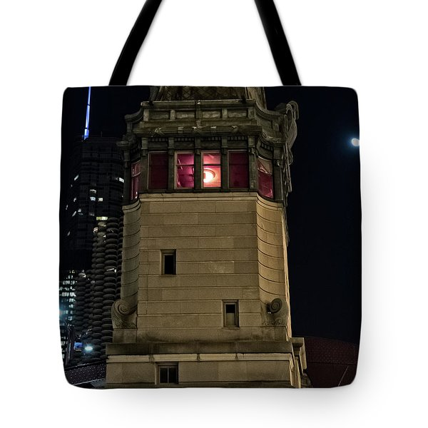 Vintage Chicago Bridge Tower At Night Tote Bag