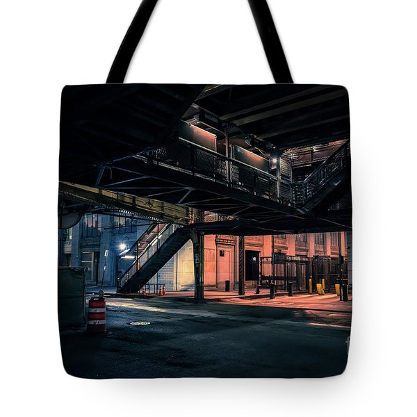 Vintage Chicago L Station At Night Tote Bag