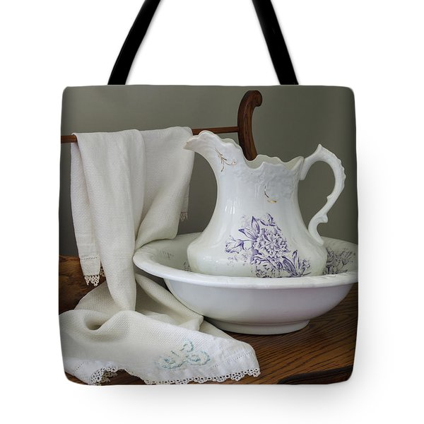 Vintage China Pitcher And Bowl Tote Bag