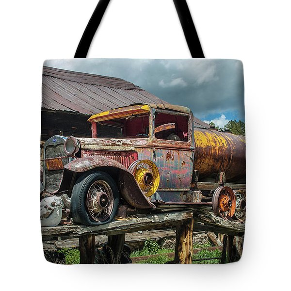 Tote Bag featuring the photograph Vintage Ford Tanker by Tony Baca