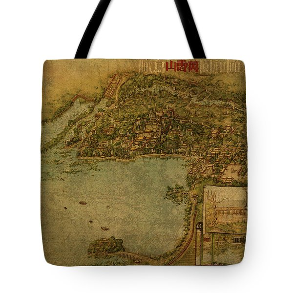 Vintage Map Of Beijing China Summer Palace 1954 Tote Bag