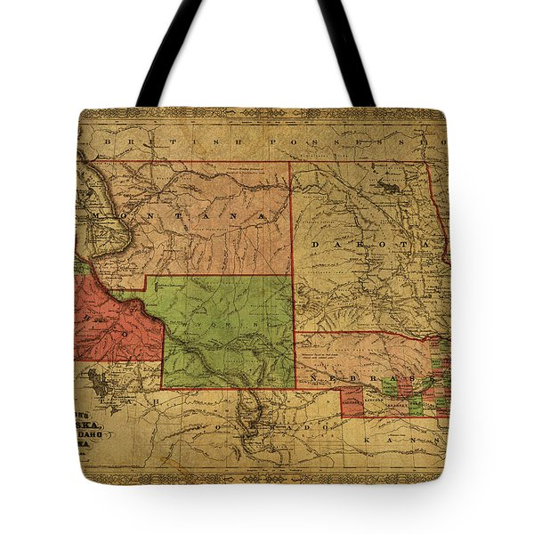 Vintage Map Of Western States Usa 1866  Tote Bag
