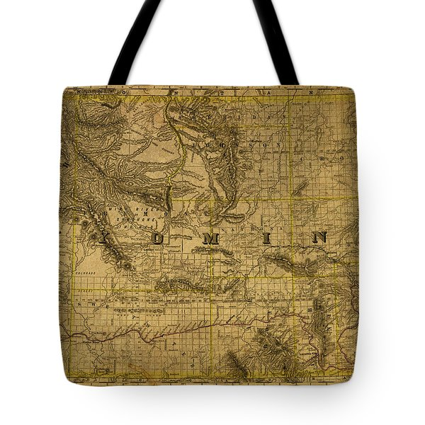 Vintage Map Of Wyoming 1889 Tote Bag