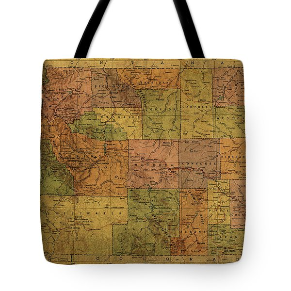Vintage Map Of Wyoming State 1958 Atlas Tote Bag