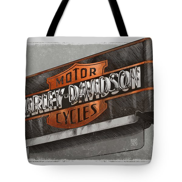 Vintage Motorcycle Shop Tote Bag