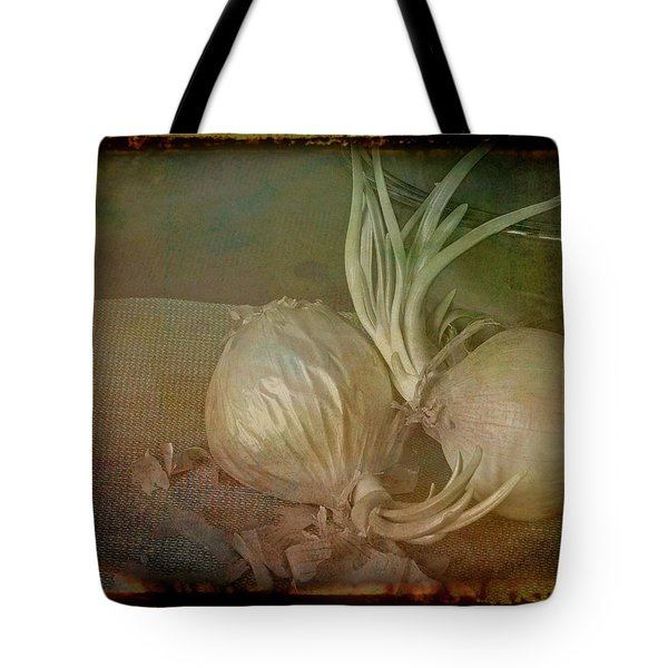 Tote Bag featuring the mixed media Vintage Onions 3 by Lynda Lehmann