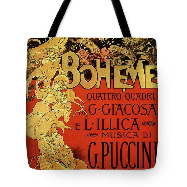 Vintage Poster By Adolfo Hohenstein For Opera La Boheme By Giacomo Puccini Tote Bag