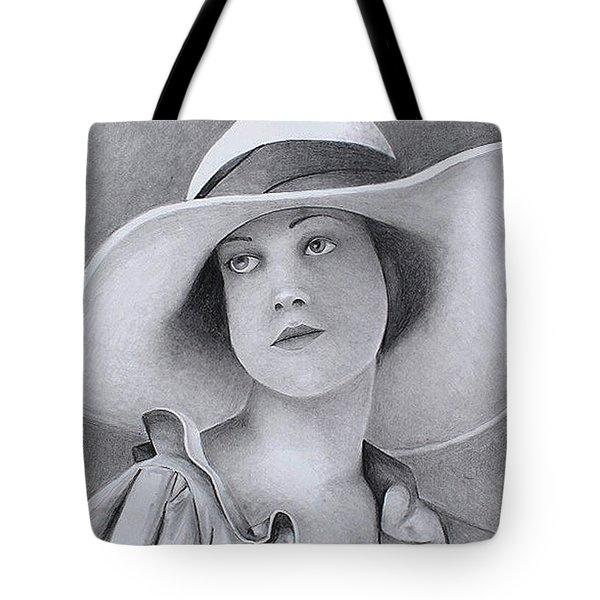Vintage Woman In Brim Hat Tote Bag