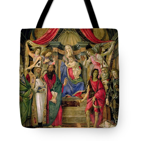 Virgin And Child With Saints From The Altarpiece Of San Barnabas, Tote Bag