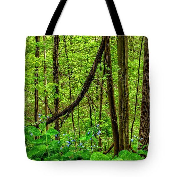 Virginia Bluebells And Tree Trunks Tote Bag