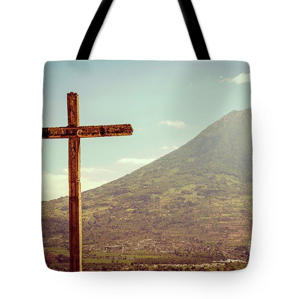 Tote Bag featuring the photograph Volcano And Cross In Antigua Guatemala by Tim Hester