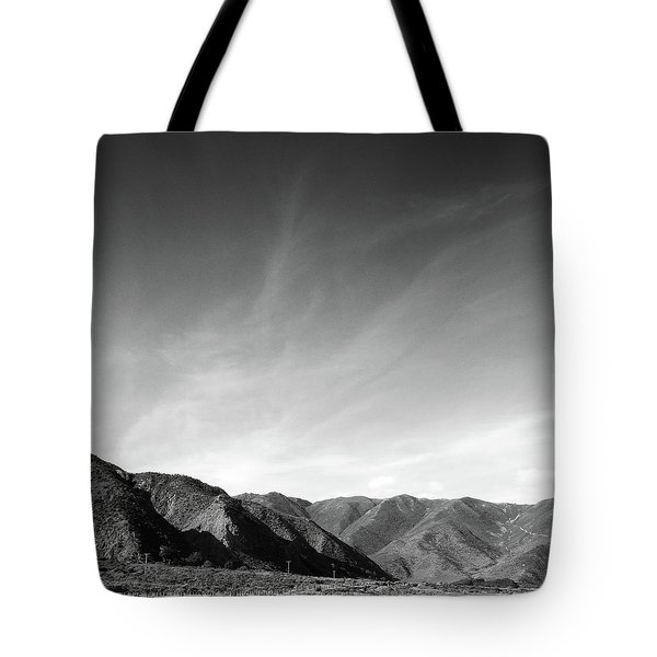 Wainui Hills Squared In Black And White Tote Bag