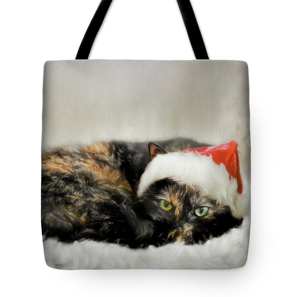 Tote Bag featuring the photograph Waiting For Catnip From Santa by Jai Johnson
