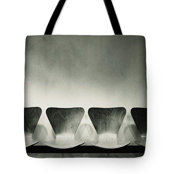 Waiting Room With Empty Wooden Chairs, Concept Of Waiting And Passage Of Time, Black And White Image, Free Space For Text. Tote Bag