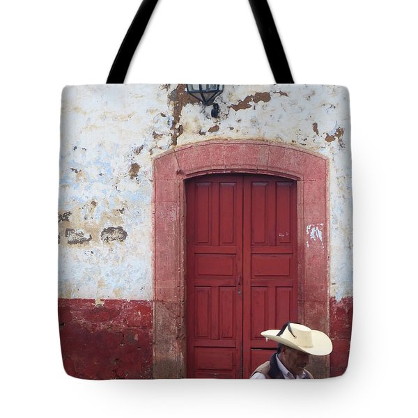 Tote Bag featuring the photograph Walking By In Patzcuaro by Rosanne Licciardi