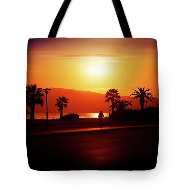 Tote Bag featuring the photograph Walking Down The Street On Sunset by Milena Ilieva