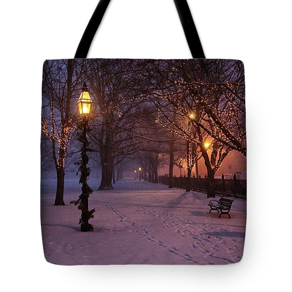 Tote Bag featuring the digital art Walking The Path On Salem Ma Common by Jeff Folger