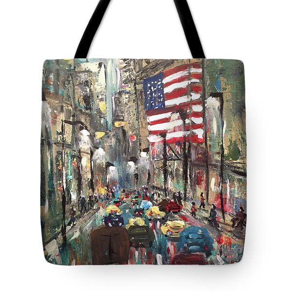Tote Bag featuring the painting wall street NY by Miroslaw  Chelchowski