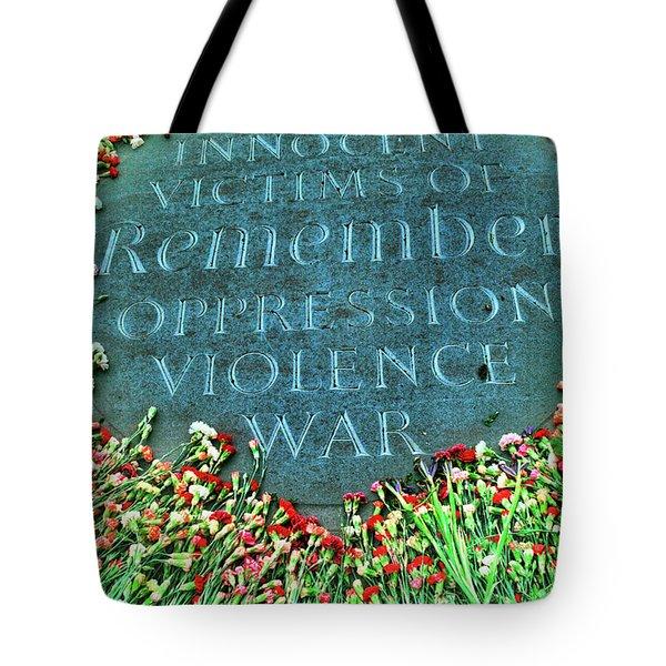 War Memorial Plaque Tote Bag