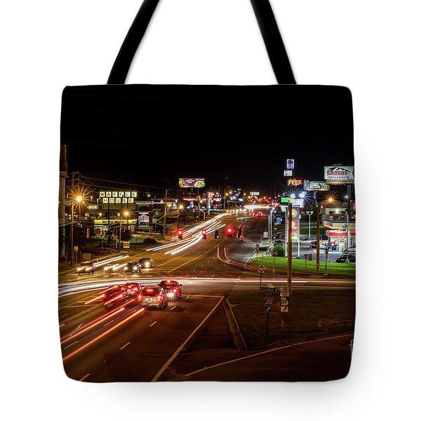 Washington Road At Night - Augusta Ga Tote Bag