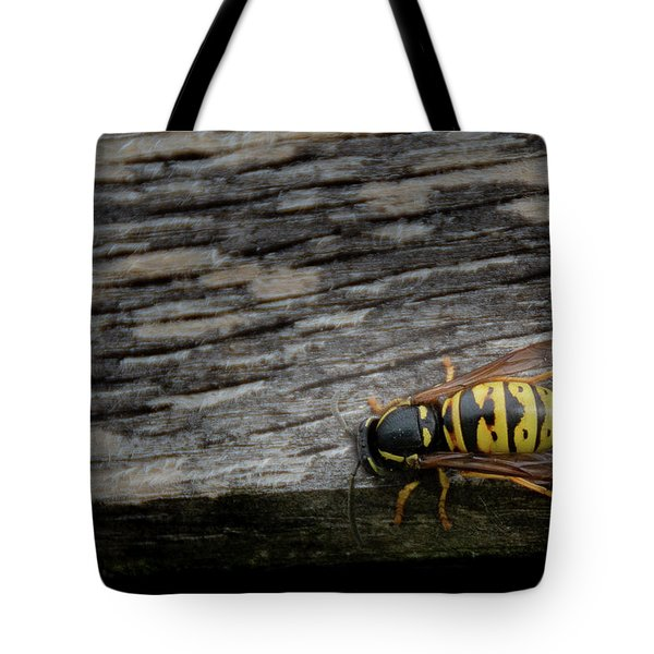 Wasp On Wood Tote Bag