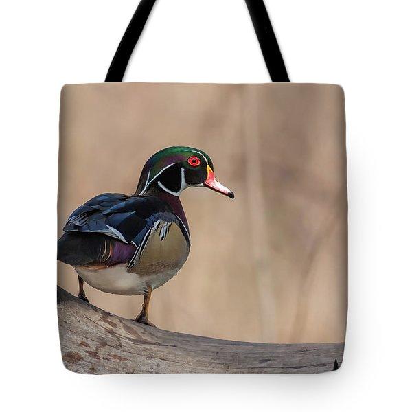 Watchful Wood Duck Tote Bag